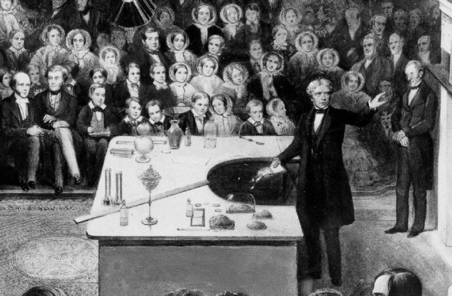 Detail of a lithograph of Michael Faraday delivering a Christmas lecture at the Royal Institution